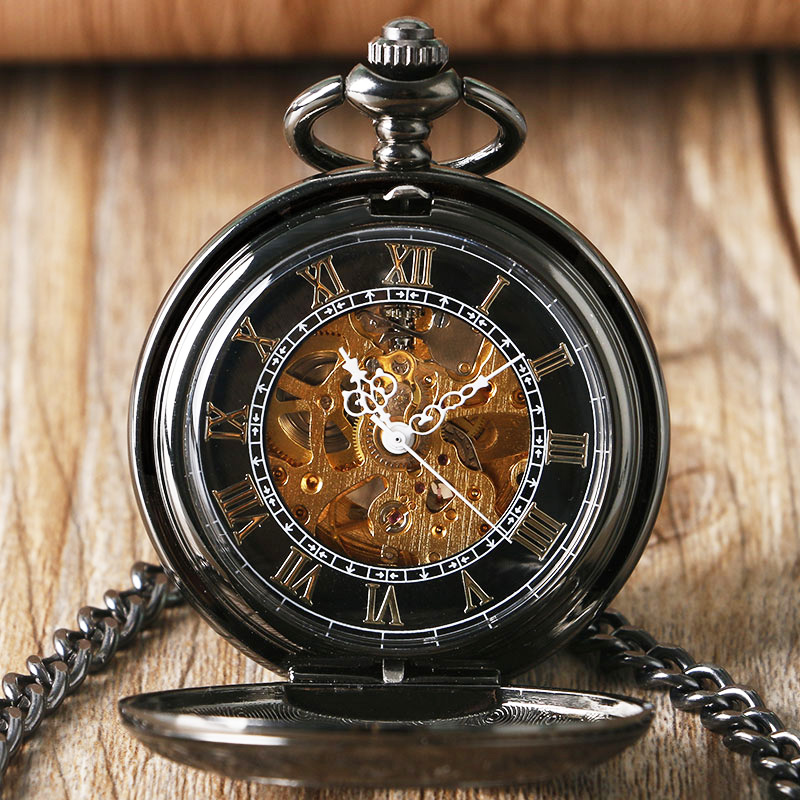 Automatic Mechanical Pocket Watch Black Cool Luxury ...